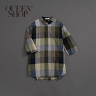 Queen Shop【01023482】女裝 親子系列 大方格長版襯衫*現+預*