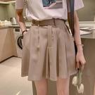 雪紡短褲 夏裝新款時尚高腰雪紡寬管短褲女大碼寬鬆藏肉顯瘦五分西裝褲-Ballet朵朵