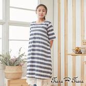 【Tiara Tiara】橫條紋傘下擺半袖純棉洋裝(藍/灰)