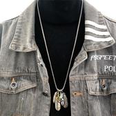 歐美hiphop復古羽毛鈦鋼項錬男 韓版嘻哈長款女潮男掛件葉子鷹爪    9號潮人館