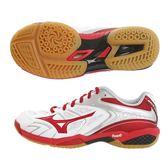 樂買網 MIZUNO 18SS 高階排羽球鞋 3E寬楦 FANG SS 2系列 71GA171062 白x紅 贈防撞護膝