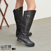 大尺碼長靴 皮帶釦飾拉鍊平底靴- 山打努SANDARU【107066#102】