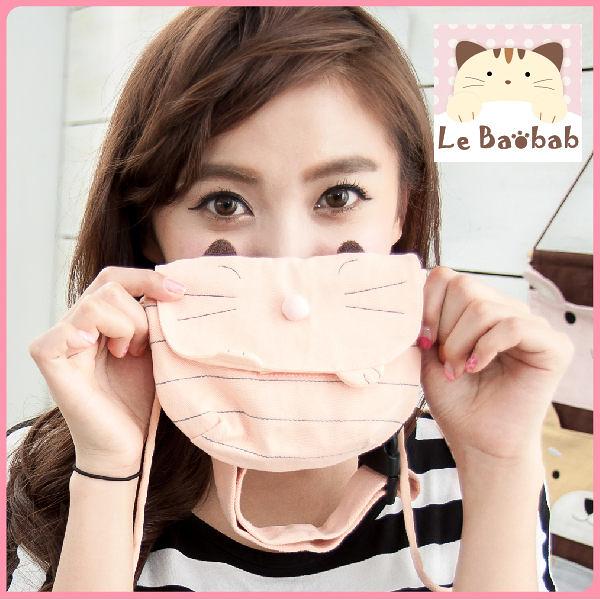 斜背包~Le Baobab日系貓咪包 粉紅啵啵貓斜背包/肩背包/手提包/側背包/拼布包包