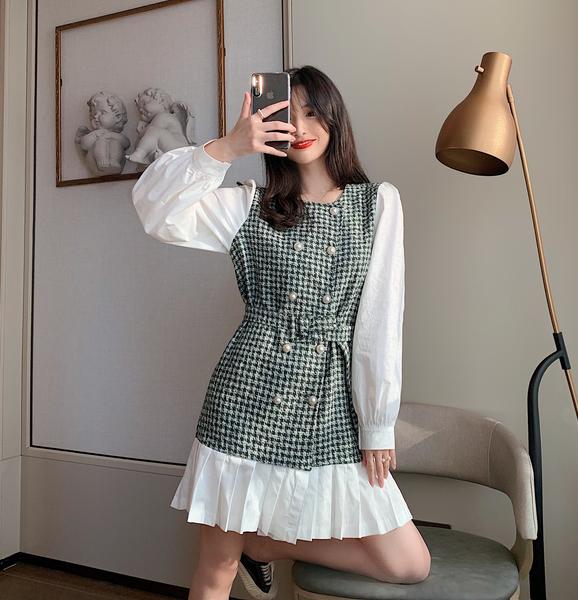 VK旗艦店 韓系修身顯瘦拼接假兩件千鳥格長袖洋裝