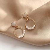 S925銀針韓國氣質簡約小圓環幾何愛心形珍珠耳釘甜美少女耳環299 雙11 伊蘿