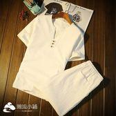 男士套裝 男士半截袖體恤夏季新款休閑短袖T恤日系潮流上衣服