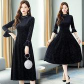 洋裝 8922#金絲絨連身裙新款女秋冬裙子氣質闊太太高貴洋氣HF303快時尚