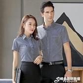 職業裝 全棉男女短袖職業襯衫夏季條紋正裝加肥大碼免燙上班工裝襯衣
