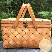 純手工編織木皮野餐籃子禮品盒竹籃包裝水果特產禮盒【白嶼家居】