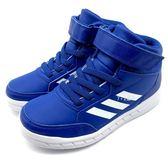 《7+1童鞋》中大童 ADIDAS AltaSport MID EL K  魔鬼氈 輕量  高筒 慢跑鞋 7336  藍色