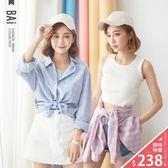 襯衫 三線方格紋配色棉麻上衣-BAi白媽媽【160710】