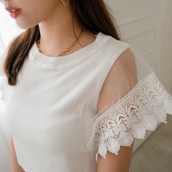現貨-MIUSTAR 透膚網紗蕾絲袖輕針織上衣(共2色)【NJ1462】