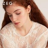 ZEGL十字架流蘇耳骨耳環女一體式耳釘耳夾長款氣質耳墜不對稱耳飾