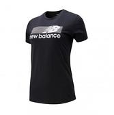 New Balance NB DRY 科技棉橫條LOGO女款黑色短袖上衣-NO.AWT01158BKK