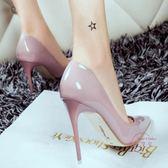裸色細跟高跟鞋尖頭黑色工作單鞋女紅色婚鞋漆皮藍色大尺碼鞋 34-40