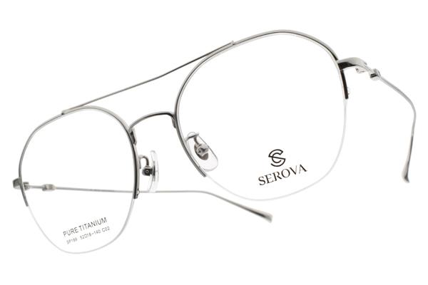 SEROVA光學眼鏡 SP189 C02 (銀) 造型飛行半框款 眼鏡框 #金橘眼鏡