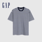 Gap男裝 厚磅密織系列碳素軟磨 基本款素色短袖T恤 735900-海軍藍條紋