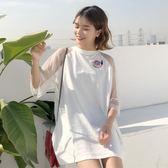 夏季氣質少女裙子刺繡蕾絲鏤空純色小清新短袖溫柔連身裙學生【台秋節快樂】