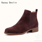 時尚經典圓頭切爾西短靴 舒適鹿皮內里粗跟踝靴 女靴子【Kacey Devlin 】