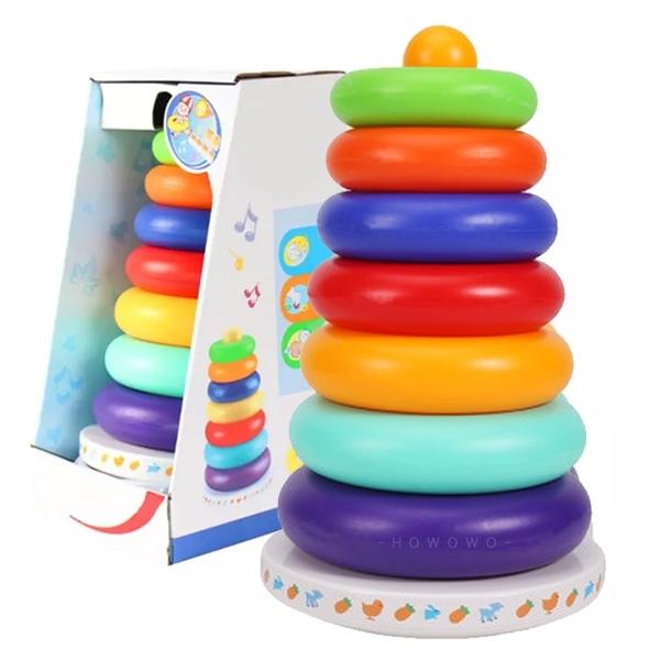 疊疊樂彩虹套圈 彩虹套圈 搖鈴 套圈圈玩具 不倒翁 彩虹圈 啟蒙積木 彩虹塔 1017 益智早教玩具