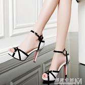 新款時尚一字扣帶涼鞋女夏防水台細跟拼色魚嘴高跟鞋百搭女鞋