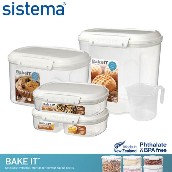 【sistema】紐西蘭進口烘焙系列保鮮盒四件組(630ml+685ml+1.56L+2.4L)