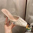一腳蹬方頭淺口粗跟包頭高跟半拖鞋女夏外穿穆勒鞋【創世紀生活館】