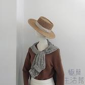 帽子女英倫平頂草帽海邊度假防曬時尚平沿編織禮帽【極簡生活】