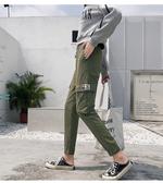 夏裝 鬆緊束腳闊腿休閒運動寬鬆口袋工裝燈籠褲百搭長褲