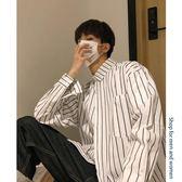 YAHOO618◮寬鬆長袖條紋襯衫外套男士修身襯衣韓版潮流情侶休閒春季衣服學生 韓趣優品☌