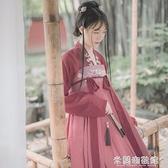 漢服 漢服套裝女學生古裝長款超仙齊胸襦裙紅色中國風日常顯白顯瘦梅子 快速出貨