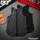 日系港風街頭無袖T恤bf風寬鬆男士韓版潮流休閒運動籃球背心夏裝