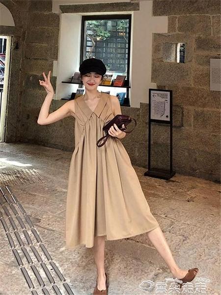 無袖洋裝2021夏季新款赫本中長款大擺裙子法國小眾復古無袖輕熟風連身裙女 雲朵走走