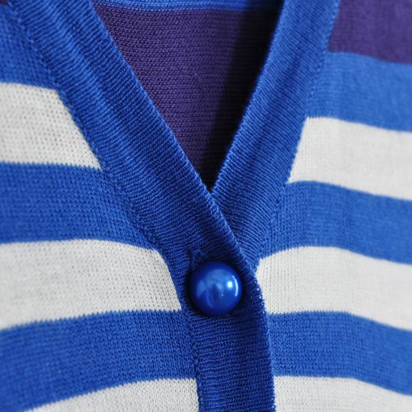 【CUMAR】橫條紋長版針織外套-藍