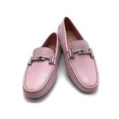 【台中米蘭站】全新品 TODS Double T 金屬設計牛皮壓紋豆豆鞋 (櫻花粉)