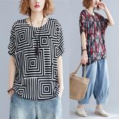 新款文藝彩色印花遮肉針織棉短袖T恤衫 胖mm顯瘦中大尺碼圓領上衣