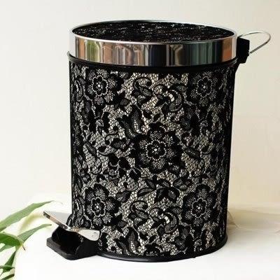 垃圾桶腳踏式 塑料有蓋黑色蕾絲【藍星居家】