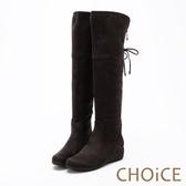 CHOiCE 冬日暖暖元素 柔軟毛呢布及膝兩穿長靴-灰咖