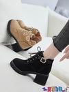 高跟短靴 馬丁靴女鞋子英倫風靴子2021新款百搭高跟短靴粗跟春秋款冬季 618狂歡