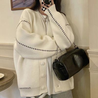 針織毛衣 長袖毛衣 秋冬外套小眾寬松毛衣開衫針織外套女H5F-501.依品國際