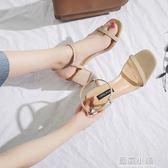 涼鞋2018新款女夏季韓版百搭粗跟一字扣女鞋時尚性感簡約中跟鞋子 藍嵐