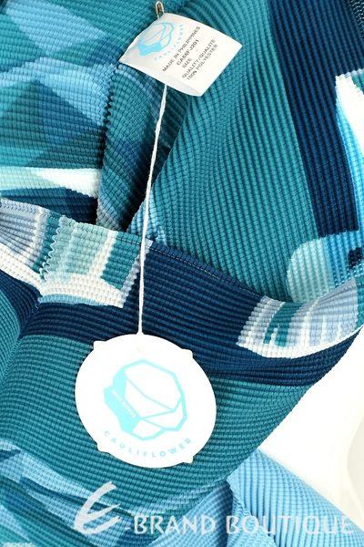 三宅一生 ISSEY MIYAKE CAULIFLOWER 藍色幾何圖形皺褶高領長袖上衣 1620543-23