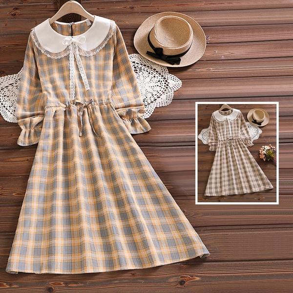 *ORead*格纹系带收腰长袖连身裙(2色S~2XL)