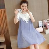 初心 今夏女主角洋裝 【D3024】 短袖 條紋 輕薄 透氣 拼接 布蕾絲 洋裝