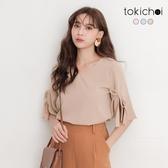 東京著衣-tokichoi-自信甜美V領多色蝴蝶結綁帶上衣-S.M.L(190949)