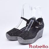 itabella.舒適水鑽羊皮楔型涼鞋(9219-91黑色)