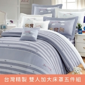【環遊世界-紫】100%精梳棉.雙人加大床罩五件組 6*6.2 台灣製 大鐘印染