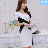 【V8201】shiny藍格子-氣質出眾.黑白拼接顯瘦短袖連身裙