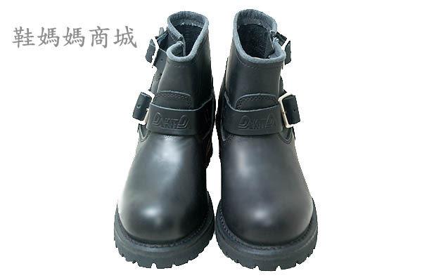 【鞋媽媽】[女]KIT黑色真皮短靴*二扣帶*直接穿脫*防滑防潑水*ae226