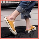 夏款懶人半拖鞋女平底無后跟帆布鞋新款新款正韓外穿百搭休閑板鞋